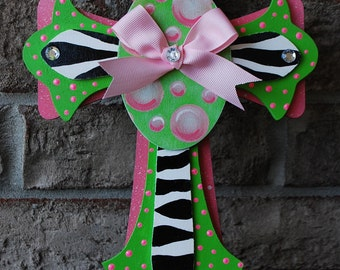 Hand Painted Lime Green and Pink Zebra Cross