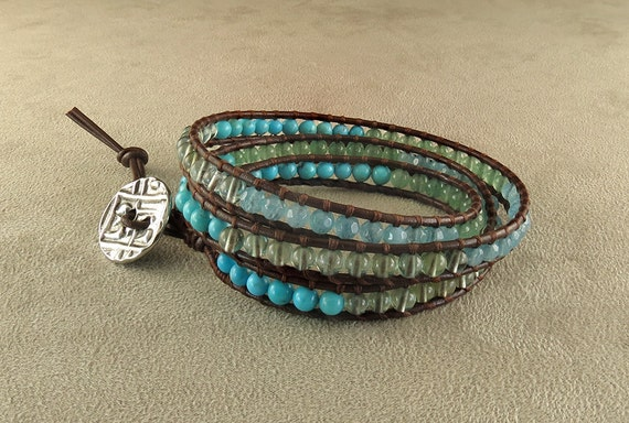 Heart & Soul Leather Wrapped Bracelet with Turquoise, Aventurine, Blue Quartz and Green Fluorite