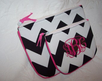 SMALL CHEVRON Cosmetic Black & White Personalized Gift Wrapped