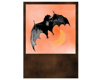 Bat Digital Download Halloween Art jpg and png