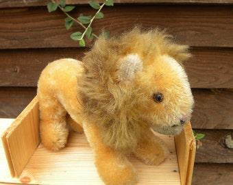 Vintage Steiff - Small Lion - 6 inch Steiff Lion - 1960's Toy - Mohair Lion
