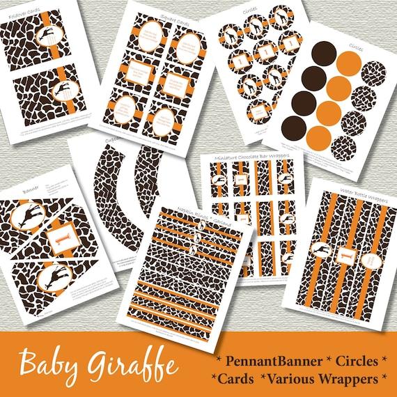 Giraffe First Birthday Party Kit Printable Decorations