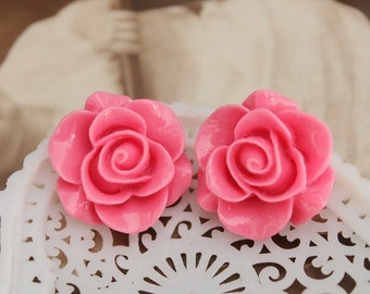 8PCS Wholesale Beautiful  Colorful Rose Flower Resin Cabochon   --20mm(CAB-S-38)