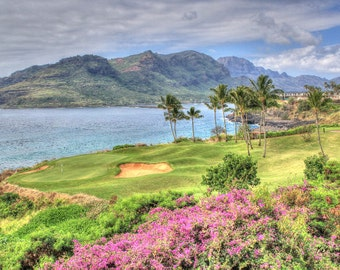 Colorful flowers and Golf course at the Marriott on the Island of Kauai, Hawaii