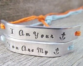 Set of 2 Couples Friendship Bracelet ANCHOR His and Hers Best Friends Hand Stamped Tie On Hemp Cord