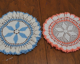 Vintage Crochet Doilies Lot of 2 In Blue and Peach