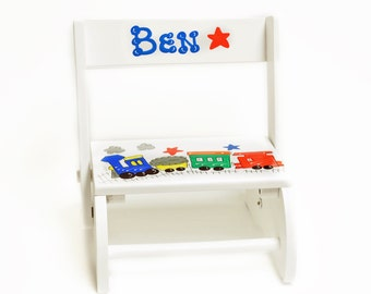 Trains Theme Hand-Painted Personalized Wooden Step Stool