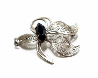 Floral Brooch- Silver Filigree Pin- West Germany- 1950s Brooch- Black Marquise Pin- Floral Pin- Flower Brooch- Filigree Brooch- Art Deco Pin