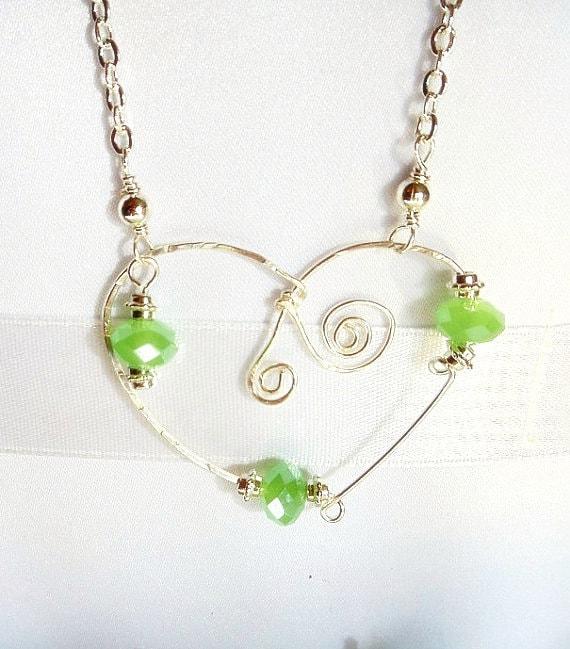 Heart Necklace- Peridot Necklace- Heart Pendant-  Wire Wrap Pendant- Gemstone Necklace- Birthstone Necklace- Green Necklace-Pendant On Chain