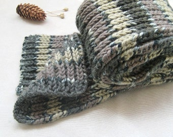 Ombre Gray Scarf Long Thick Men, Alpaca Scarf Striped Earth colors, Knit Double face Rib Unisex Scarf, Organic wool Accessory, Gift For him