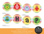 Happy Birthday Banner - YGG Printable DIY - Polka Dot Birthday Package -  Instant Download - YGG, Monster, Robots, Party Decoration