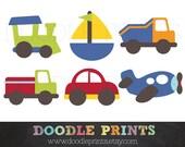 Digital Scrapbook Clip Art Printable - Transportation Design - Car, Train, Boat, Airplane, Truck - Personal Use Only