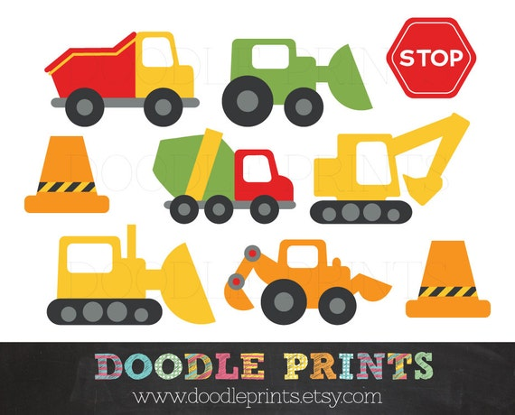 Clipart Construction Trucks - Construction Digital Clip Art Design - Trucks, Stop Signs, Garbage Truck, Bulldozer - Personal Use Only