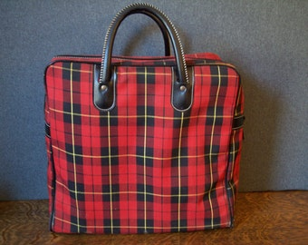 Aladdin Plaid Thermos Travel Sports Picnic Kit with Tote Bag