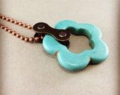 cycling necklace turquoise colored flower bicycle jewelry tour de france, bike accessory, fixie gift, bmx necklace, road bike gift