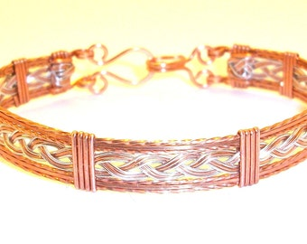 Copper & Silver Braided Bangle Bracelet Free Shipping