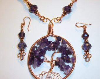 Amethyst and Copper Tree of Life Necklace and Earring Set February Birthstone Free Shipping