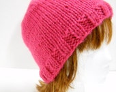 Womens Knit Beanie, Hot Pink Knit Hat, Hand Knit Winter Hat, Pink Beanie Style Hat