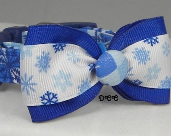 Dog Collar READY to SHIP Winter Wonderland Snowflakes Ribbon Snowflake Bow Tie Rich Blue White Checkered Fabric Adjustable D Ring Accessory