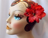 Red Hawaiian Tiki Trio Orchid Flower Hair Clip, Rockabilly Pinup Hair Accessories