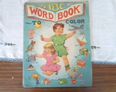 ABC Word Book 1940's Children's Coloring Book