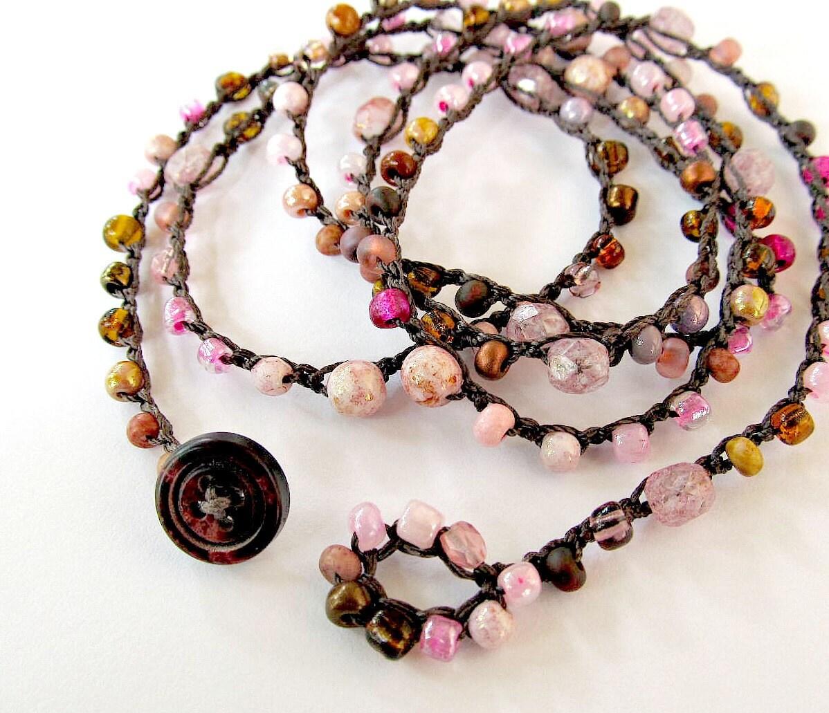 Necklace Beads: Crochet Wrap Bracelet Or Necklace Beaded Petals