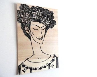 Original Liberty Frida Black Marker Figure Drawing Illustration on Wood, Wall art, Wall Decor - panel 9.5x14.5inch (24x37cm)