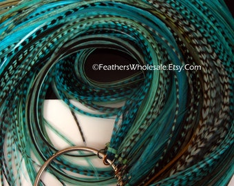 Long Rooster Feathers 100 Aqua Turquoise Hair Feather Extensions Wholesale Feather Hair Accessories Turquoise Blue
