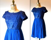 1950s Vintage Sequin Dress Blue Size Small Medium By Carol Brent// 1950s Party Prom Dress in Bright Blue