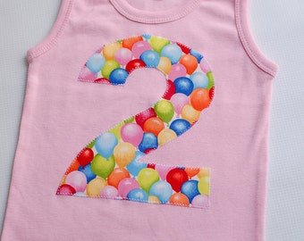 Size 2 Girls Pink Balloon Birthday Shirt, I am Two Tank Top, Girls Second Birthday Shirt, Balloon Birthday Party, Ready to Ship, #2