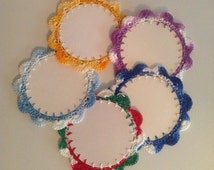 Crochet Christmas card ornaments ( price for 1 ornaments) red white green purple blue