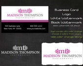 Pre-made Logo for Photography or Business includes Business Card, 2 Watermarks and Instructions Premade Logo Design  (Madison Thompson)