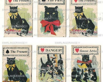 Six Black Cat Fortune Telling Cards, Jpeg Copy of 6 Original Cards, Digital Download Scrap Book Ephemera