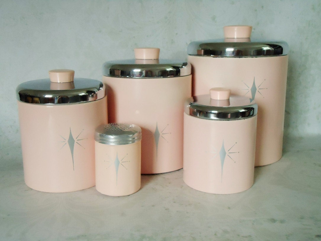 Vintage pink tin kitchen canister set pink atomic stars for Kitchen set pink