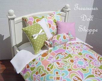 Doll Bedding 5 Pc Set for 18 Inch Sized Dolls - Kaleidoscope Flower and Butterfly