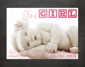 Birth Announcement - Personalized Photo DIY PRINTABLE Digital Design - Baby Girl - Letter Block