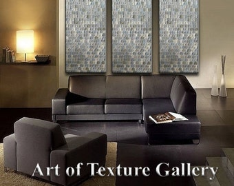 HUGE 48 x 108 Inches Abstract Textured Painting Custom Original Heavy Metallics White Neutral Beige Sage Silver Oil by Je Hlobik