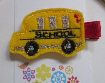 Back to School - Little Yellow School Bus Felt Clippie  - Hair Clip - Party Favor