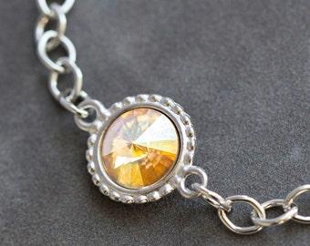 Citrine Bracelet, Silver Crystal Birthstone Jewelry, Birthday Gift, Personalized Jewelry, November Birthstone Bracelet