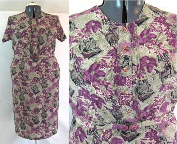 ON HOLD - vintage plus size dress, size 18, vintage 1980s, grey and plum purple floral, fully lined
