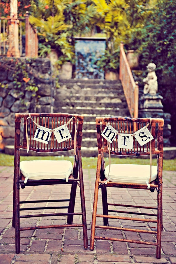 Mr. and Mrs. Banners / wedding Signs / Custom Colors Chair hang or Photo Prop Garland Wedding Banners See It on www.stylemepretty.com