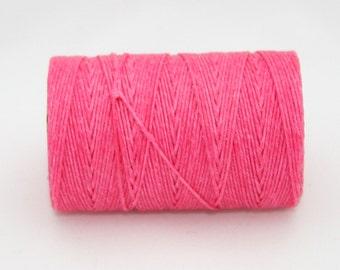 Waxed Irish Linen Thread Fuchsia Pink 7 Ply Waxed Thread