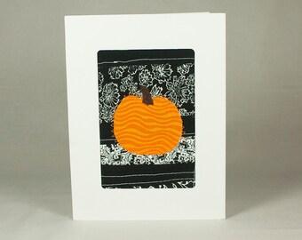 Halloween Greeting Card - Pumpkin Card - Handmade Fabric Greeting Card