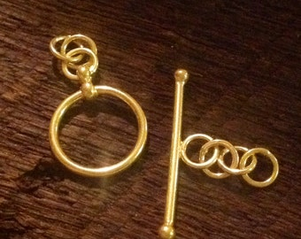 1 Smooth Round 24kt Vermeil Gold Toggle Clasp Set 12mm   T15