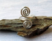 Sterling Spiral Ring, Sterling Silver Adjustable Ring, Whimsical Silver Ring, Wire Wrapped Ring