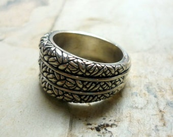 Wide Sterling Silver Ring, Oxidized Silver Band, Chunky Silver Ring, Rustic Silver Band, Triple Silver Band, Silver Statement Ring RG069.3