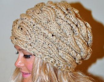 Slouchy Beanie Slouch Hat Cabled Braided Hand Knit Winter Women Hat Adult Oatmeal Honey Naturel Cable Knit Hat Christmas Gift