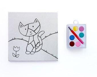 DIY Kids Party Favor - Paint Your Own - Patchwork Kitty - Kids Paint Set