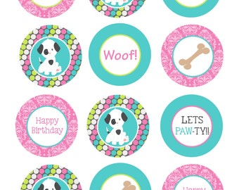 "2"" Puppy Party Circles  -  DIY Print Your Own"