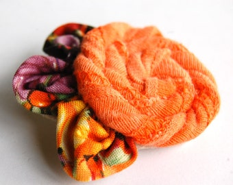 Fabric Flower Pin - Fall Colors - Eco Friendly